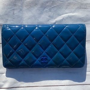 CHANEL Patent Classic Quilted LONG Wallet